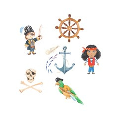 Pirate adventures Pirate party Kindergarten pirate party for children Adventure, treasure, Kids drawing pattern for banners, leaflets, brochure, invitations. Watercolor Painting