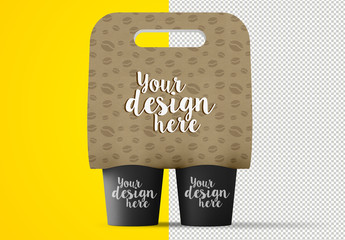 Paper Coffee Carrier Mockup