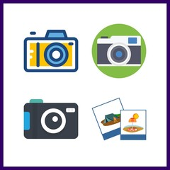 4 photographer icon. Vector illustration photographer set. photo camera and photography icons for photographer works