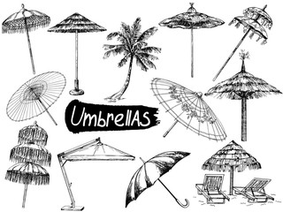 Set of hand drawn sketch style different umbrellas isolated on white background. Vector illustration.