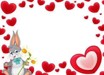Cartoon frame with hearts and rabbit with flowers on white background valentines - illustration for children