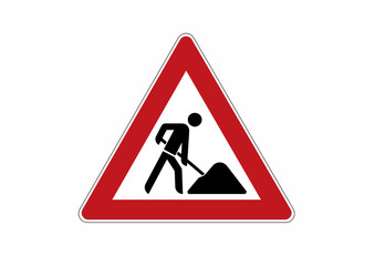 construction site sign - traffic sign