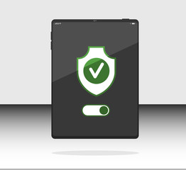 Vector flat data cecurity, security ON, shield on Internet tablet, Web tablet, Pad tablet. Can use for printing, website, presentation element. For app demo on phone or web.