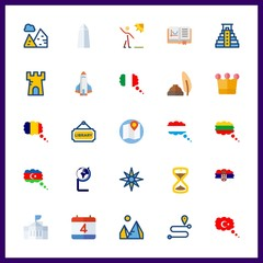 25 history icon. Vector illustration history set. library and rocket ship icons for history works