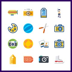 16 hobby icon. Vector illustration hobby set. zeppelin and pruners icons for hobby works