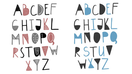 Funny childish made with ink alphabet