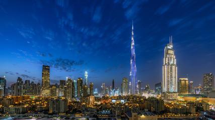 Dubai Downtown skyline at Magic hour