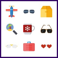 9 holiday icon. Vector illustration holiday set. tour and box icons for holiday works