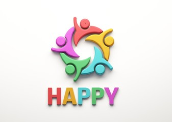Happy People Group. 3D Render Illustration