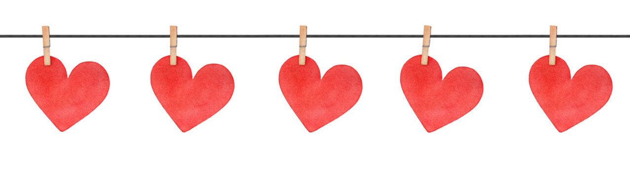 Seamless border string with wooden clothes pins and cute love hearts attachment. Red color and cute shape. Hand drawn watercolour sketchy painting on white backdrop, cutout clip art design detail.
