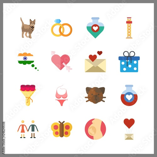 16 love icon  Vector illustration love set  pregnancy and cupid