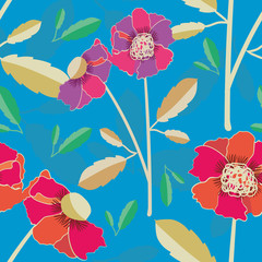 Vibrant hand drawn poppies vector seamless pattern on subtly textured bright blue background. Colourful seamless vector pattern perfect for stationery, textiles, home decor, giftwrapping, packaging