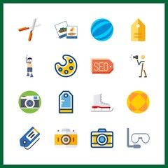 16 hobby icon. Vector illustration hobby set. tags and photography icons for hobby works