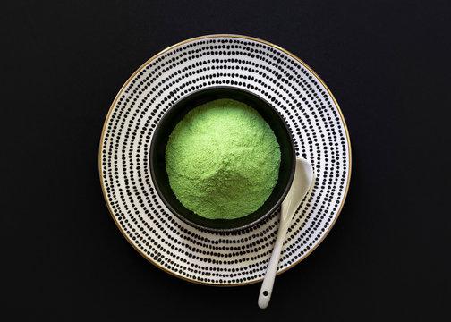 Matcha tea powder in bowl