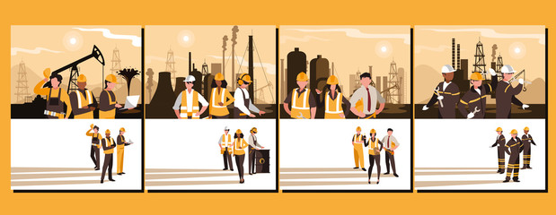 oil industry group scenes and workers