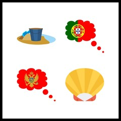 4 coast icon. Vector illustration coast set. shell and portugal icons for coast works