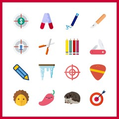 16 sharp icon. Vector illustration sharp set. swiss army knife and target icons for sharp works