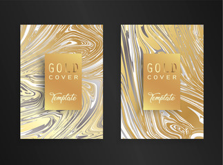 Trendy golden marble background. Template design for wedding Invitation, banner, gold card, posters. Collection modern design marbling texture. Vector illustration.