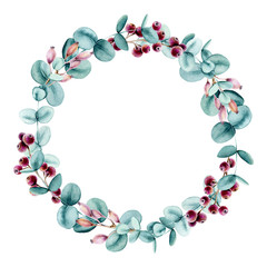 Wreath with Watercolor Berry and Eucalyptus True Blue