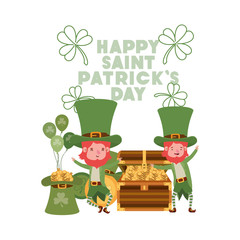 happy saint patricks day label with leprechauns character