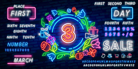 Number three symbol neon sign vector. Third, Number three template neon icon, light banner, neon signboard, nightly bright advertising, light inscription. Vector illustration