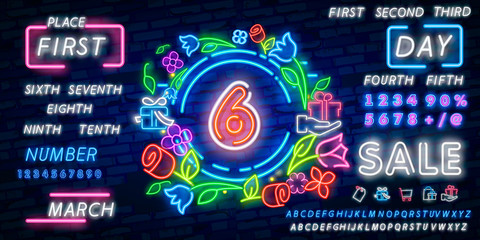 Neon city font sign number 6, signboard six. Vector illustration. Number six template neon icon, light banner, neon signboard, nightly bright advertising, light inscription.