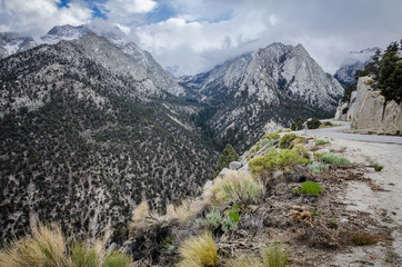 Whitney Portal Road in Lone Pine California leads to the Mt. Whitney Trailhead in the Sierra Nevada mountains