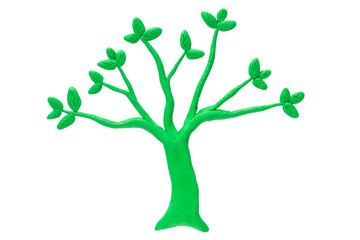 Tree made from Plasticine isolated on white background. Ecology concept.Clipping path