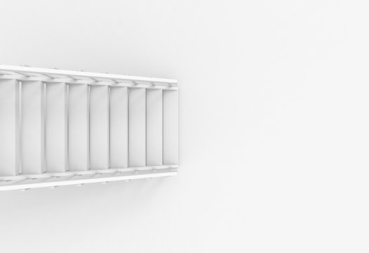 3d rendering. aerial view of modern white stair ladder case on copy space floor background.
