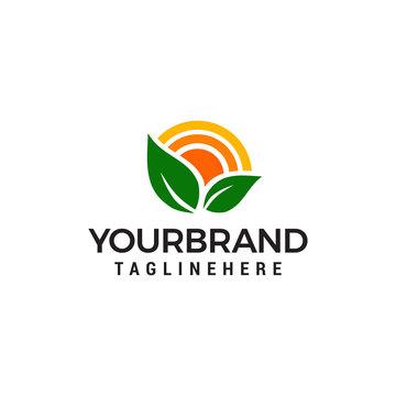 Nature Green Landscape Sunrise logo design concept template