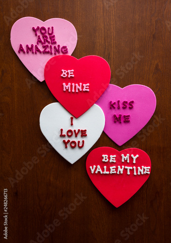 Romantic messages on hearts