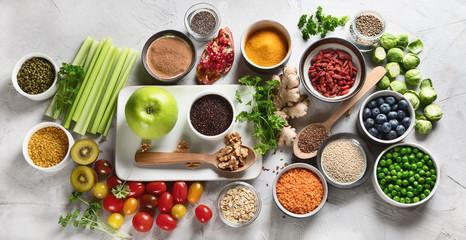 Vegetables, fruit, grain, superfoods for vegan and vegetarian eating.