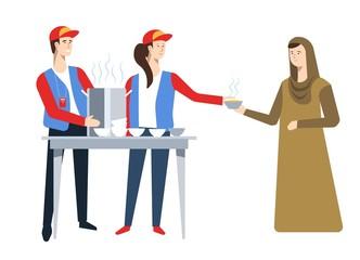 Refugees humanitarian aid food volunteer and Arab woman