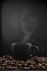 Black cup of hot coffee