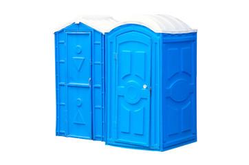two blue biotoilet on white