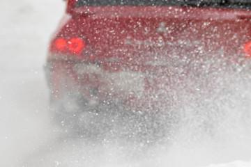 headlights through a snowstorm, no focus, winter nature