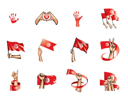 Tunisia flag and hand on white background. Vector illustration