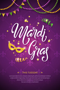 Mardi gras brochure. Fat tuesday greeting card with handwritten lettering logo and golden mask. Shining beads and flags on traditional colors background