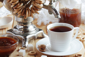 Traditional Russian tea party still life