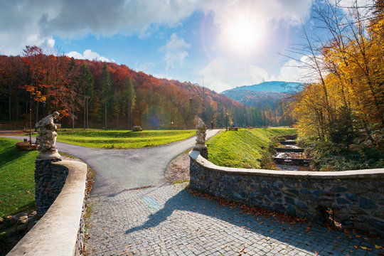 park among mountain in autumn. trees in colorful foliage, vivid grassy green lawns. walking path to the bridge through creek. wonderful sunny weather