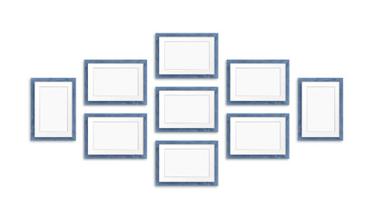 Blank frames collage, nine blue realistic wooden frameworks isolated on white background