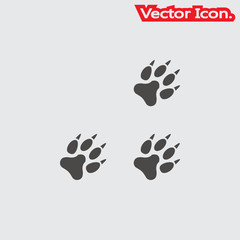 Paw icon isolated sign symbol and flat style for app, web and digital design. Vector illustration.