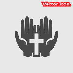 pray icon isolated sign symbol and flat style for app, web and digital design. Vector illustration.