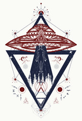 UFO. Aliens kidnap human. Tattoo two color. T-shirt design. Mystical symbol paranormal phenomena, first contact
