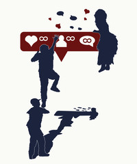 Social networks, tattoo and t-shirt design. Pursuit of likes. Symbol globalization, big brother, digital world. Children dependence on social networks
