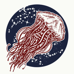 Jellyfish floats in deep space. Universe art. Two color tattoo. Symbol of wandering, deep sea, travel, meditation