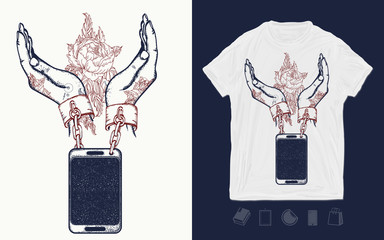 Hands and mobile phone. Print for t-shirts and another, trendy apparel design. Dependence on social networks