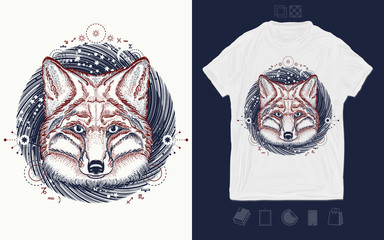 Fox in space. Symbol of a travel, freedom, tourism. Print for t-shirts and another, trendy apparel design