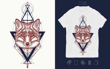 Tribal fox and triangle. Mystical symbol of adventure, dreams. Print for t-shirts and another, trendy apparel design