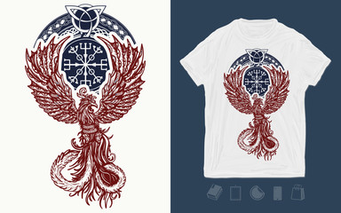 Magic celtic birds. Print for t-shirts and another, trendy apparel design. Fire birds. Symbol of revival, regeneration, life and death